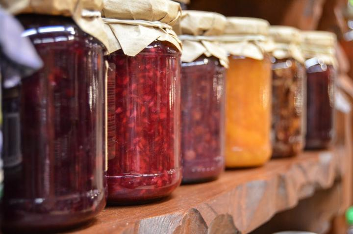 Row of jam jars
